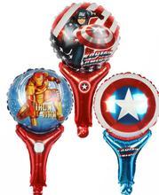 Handheld Stick Cartoon America Spiderman Foil Balloons Birthday Party Wedding Decoration Children Toy
