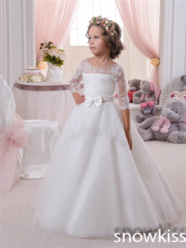 2016 Cute Princess baby party frocks Lace Flower Girl Dresses for wedding special occasions White/Ivory communion Ball Gowns new white and blue lace flower girl dresses birthday party pageant prom glitz frocks first communion ball gowns for juniors
