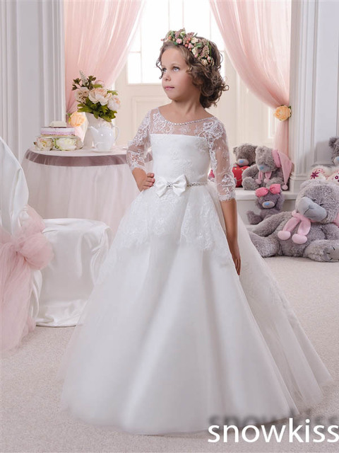 Vintage Princess sheer Lace Flower Girl Dresses for wedding White ...
