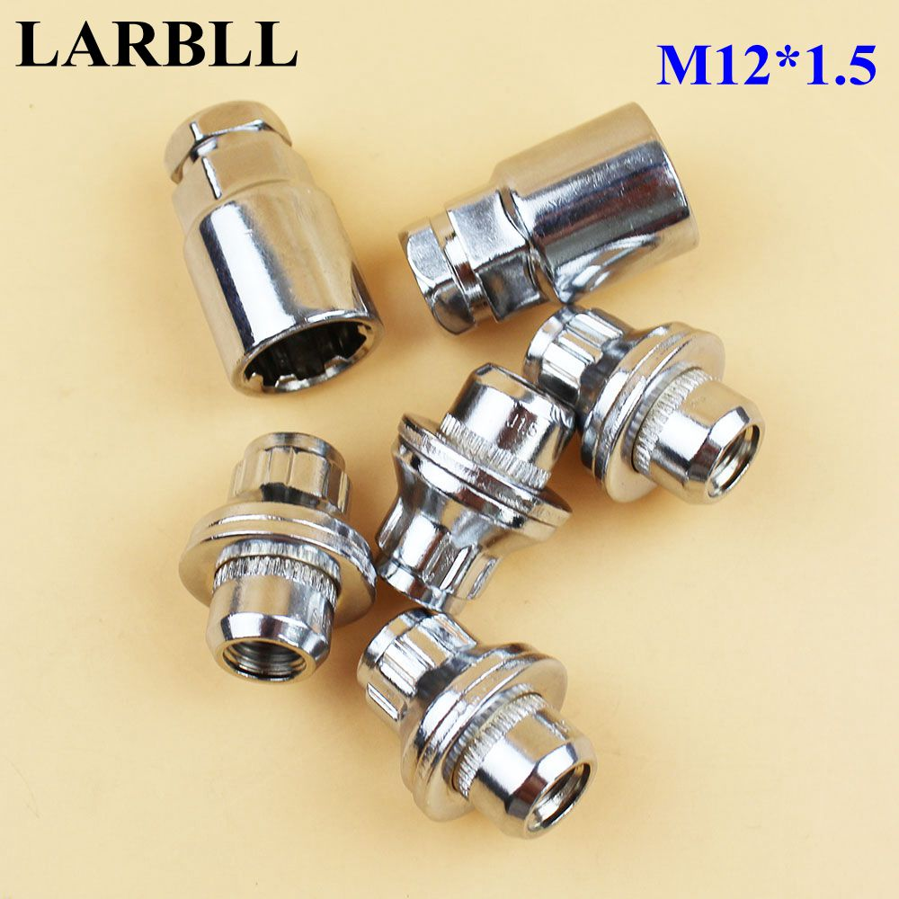 LARBLL <font><b>Car</b></font> Chrome Anti-theft <font><b>Wheel</b></font> Screw <font><b>Bolt</b></font> <font><b>Lock</b></font> Nut Key Adapter fit for Toyota COROLLA RAV4 YARIS CAMRY PRIUS HIGHLANDER ECHO image