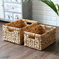 Natural Straw Rectangular Desktop Wire Handles Decorative Seagrass Organizing Woven Basket Shelves Wicker Basket