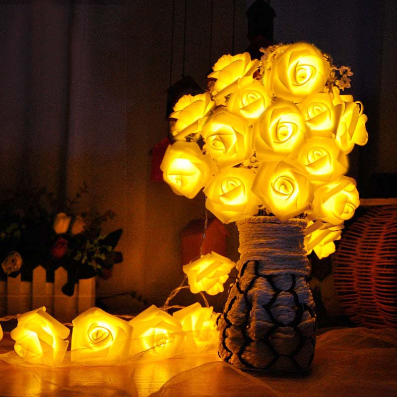 5m 20 Blooming Rose Chrsitmas LED String Fairy Lights Warm White Lumineuse Led Flashing  ...