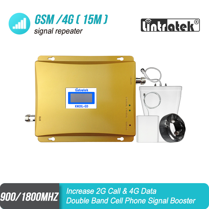 Lintratek ЖК-дисплей Дисплей GSM 900 LTE 1800 мобильный телефон сигнал повторителя 2 г 4 г усилитель сигнала 65dB Dual Band celular 4 г усилитель #8 + 2
