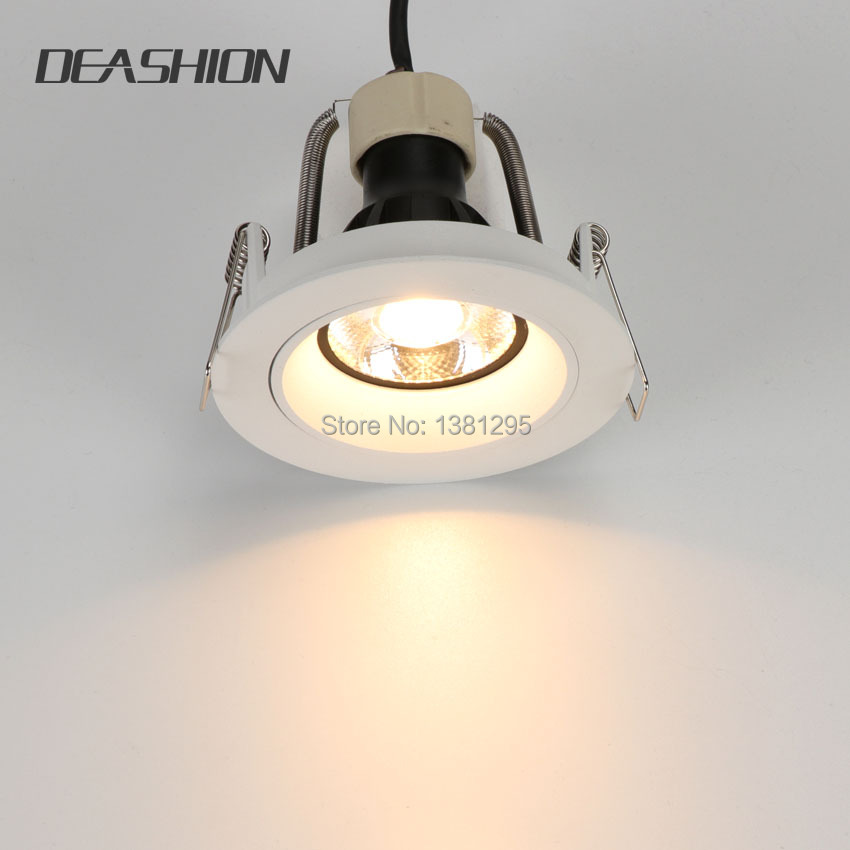 Free Shipping Iron Lamp Trims Recessed Led Ceiling Light Frame Gu10 Fittings White Downlight Holder Without Return Lamp Covers & Shades Lighting Accessories