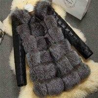 Модная зимняя женская куртка с искусственным лисьим мехом из искусственной кожи с длинным рукавом теплая верхняя одежда женская повседнев...