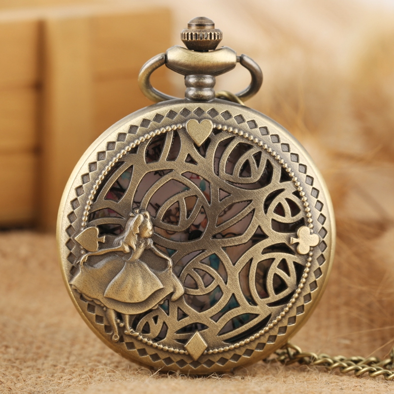 Antique Bronze Poker Cards Display Lovely Princess Quartz Pocket Watch Necklace Pendant Collection Souvenir Gifts For Women Girl