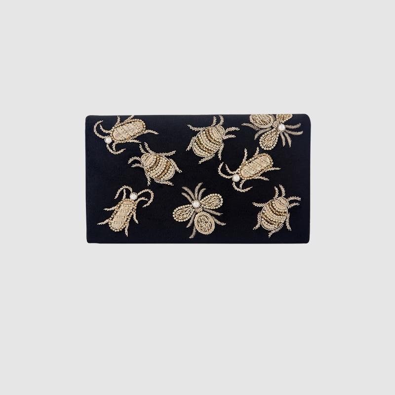 LOCAL FOCAL fashion insect handmade handbag clutch local focal hand embroidered blue handbag