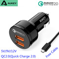 Aukey nexus 6 qc2.0 cargador del teléfono del coche para samsung s6 s7 edge 2 carga rápida usb 2.0 cargador de coche para iphone 6 s xiaomi mi4 5 lg G4