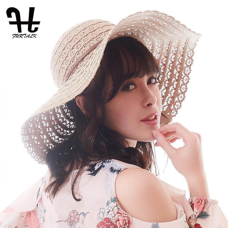 FURTALK Foldable Cotton Beach sun hats for Women Fashion Design Women Beach Sun  Hat Foldable Brimmed Straw Hat f8d4aa02bcd