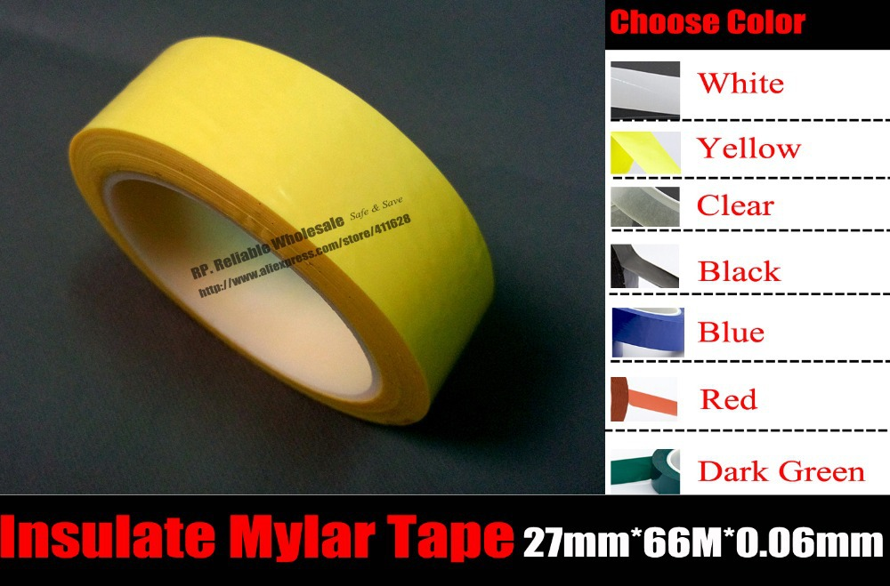 (27mm*66M*0.06mm), Yellow/Red/Black/Transparent/Blue/White/Green Choose, for Transformer Coil Wrap Mylar Insulate tape 70meter set 6mm spiral wrapping bands white black red yellow blue green grass green each 10meter