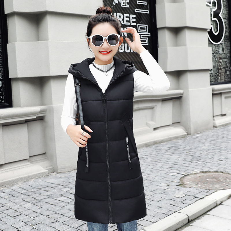 Autumn Winter Women Waistcoat Sleeveless Vest Jacket Hooded Warm Long 16