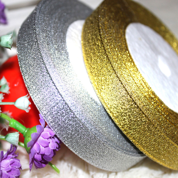 Gold and Silver Ribbon 25 Yard 22M Metallic Luster Wedding Christmas Decoration DIY Webbing Card Gift Wrapping