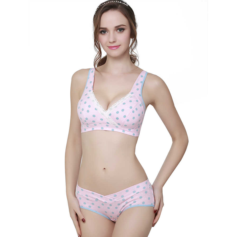 5c6dbfe2a402 ... SLAIXIU Maternity Clothes Cotton Bra+Panties Set Pregnant Brassiere  Mother Feeding Bras Pregnancy Breast For ...