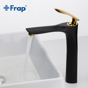 FRAP New Brass Basin Faucets Black Golden Bathroom Faucet Mixer Tap Single Handle Hot and Cold Taps Including Accessories Y10098