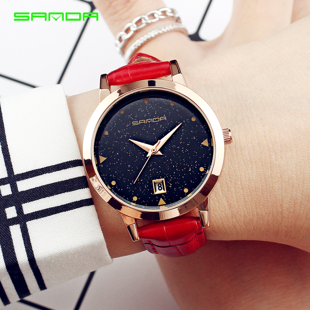 SANDA Women Brand Quartz Watch Fashion Simple Womens Watches Star dial design waterproof Clock Ladies Fashionable dress watch цена и фото