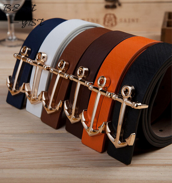 2016 Hot Sale Famous Design Brand Belts Women Men Belts Male Waist Strap Anchor Buckle Belt