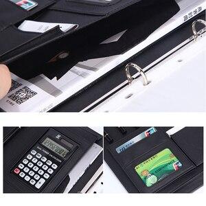 Image 3 - 8 מנות קובץ תיקיית A4 PU טבעת קלסר תצוגת ספר תיקיות עם מחשבון מסמך תיק ארגונית עסקי ציוד משרדי