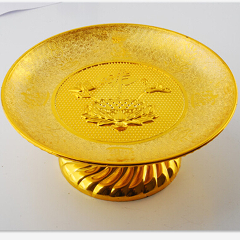 7 Inch Gold Plastic Fruit Plate Noble Buddhist Worship Deities Tray Buddhist Ceremony Noble Money and Treasure Sacrificial Tray
