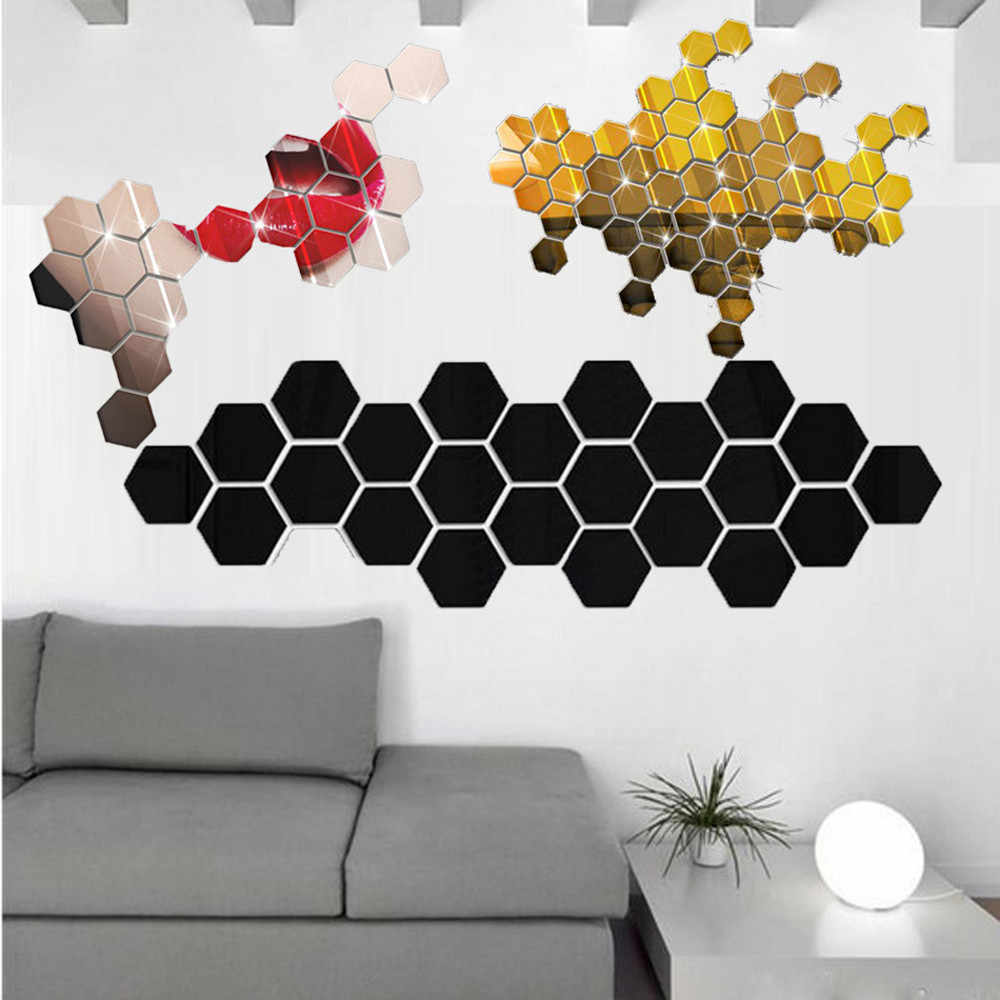 12Pcs Wall Sticker 3D Mirror Hexagonal Vinyl Removable Decal Home Decor