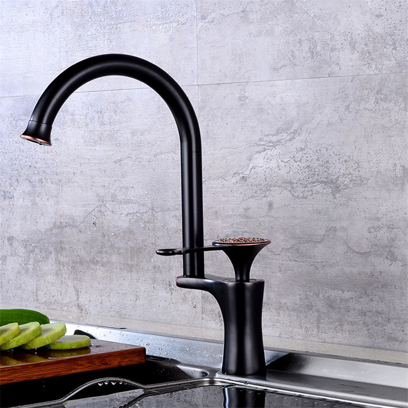 Kitchen Sink Faucet Brass Sink Mixer Faucet Black Oil Brushed/Gold Kitchen Faucet Single Handle Deck Mounted Unique Design Tap