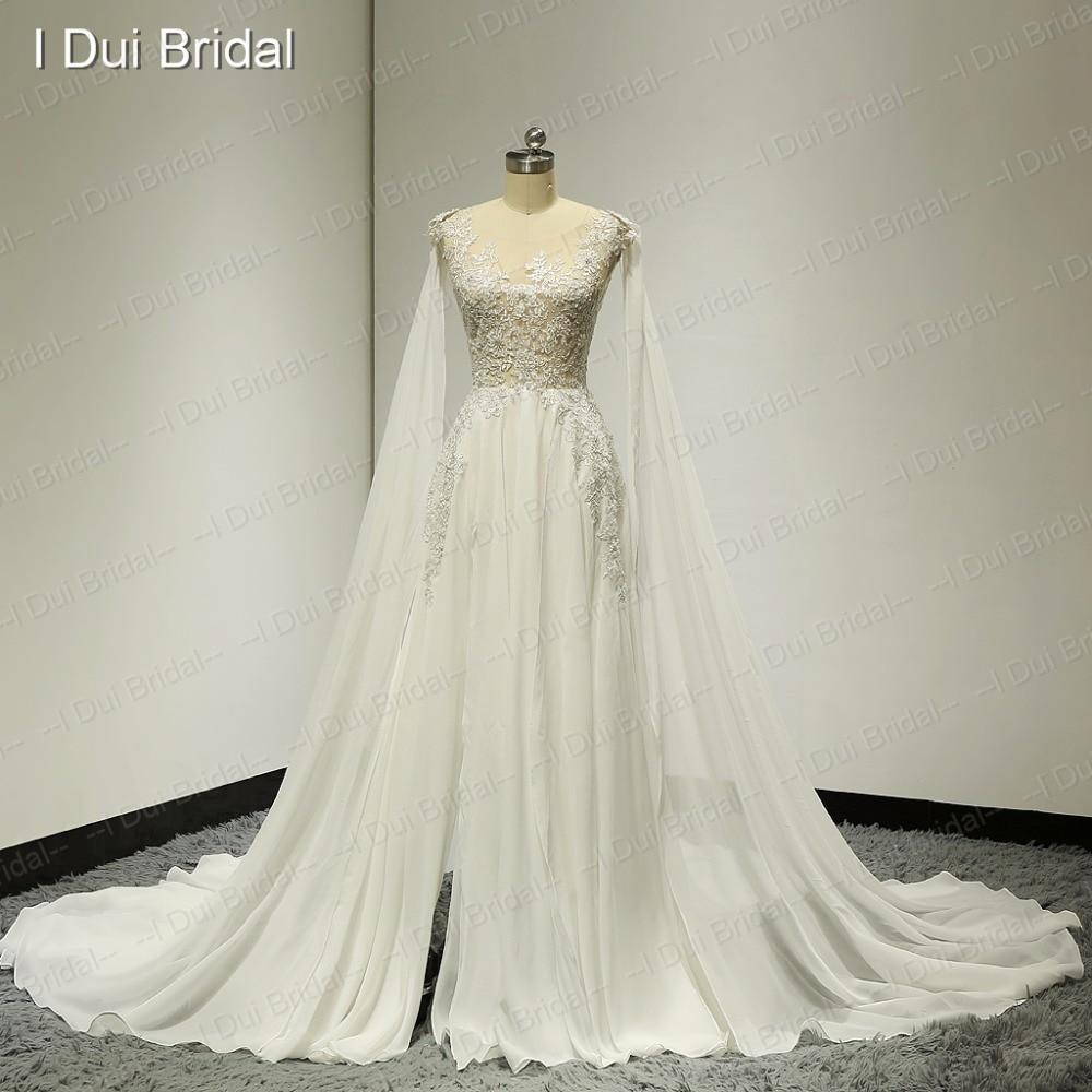 Illusion Silber Spitze Brautkleider mit Abnehmbarem Schal Split Bein ...