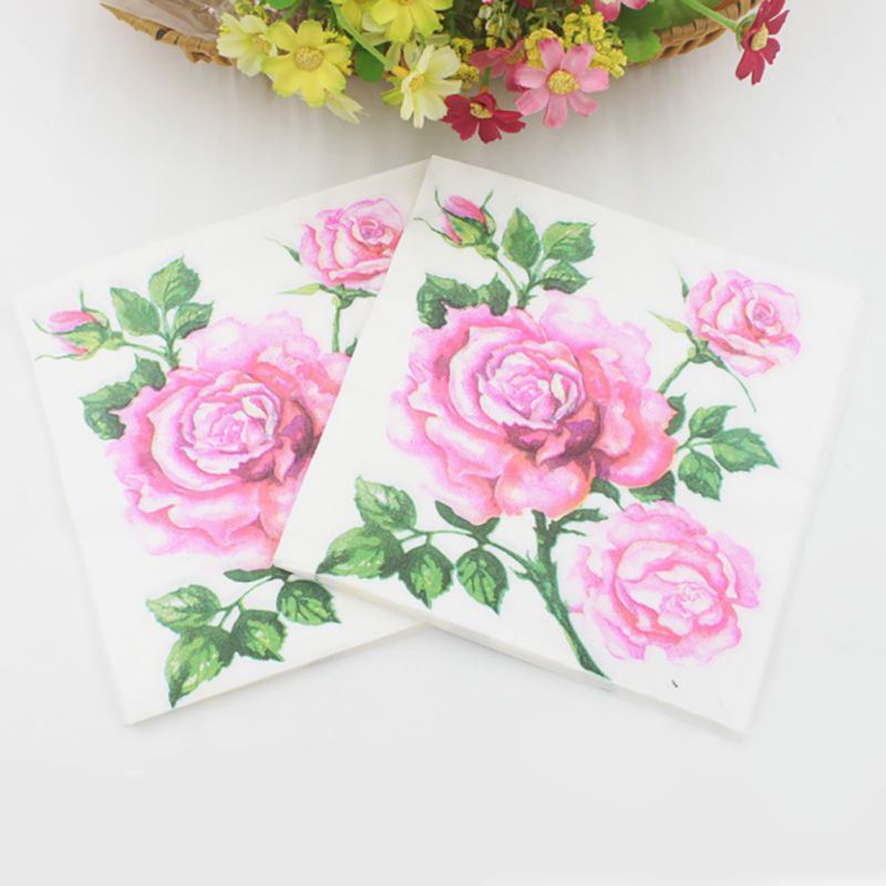 Vintage Flower Paper Napkins Rose Festival Party Tissue Floral Decoration for Weeding Dinner and Party 20pcs/pack