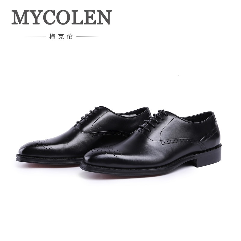 MYCOLEN New Design Luxury Genuine Leather Lace Up Modern Men Brogue Shoes Party Wedding Suit Formal Footwear Male Dress Shoes 2017 new italian modern men formal oxford shoes genuine leather crocodile print brown lace up dress men s footwear 1815 810