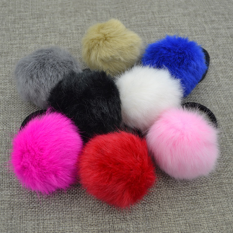 Hot Sale Winter Girl Hair Accessories Artificial Rabbit Ball Hair Band Of Fur Hair Rope Gum Big Girl Rubber Bands For Women hot sale hair accessories headband styling tools acessorios hair band hair ring wholesale hair rope