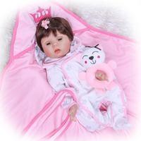 New 22 Full Body Slicone Girl Reborn Babies Doll Bath Toy The Eyes Can Blink Lifelike Newborn Princess Baby Doll Bebe Reborn