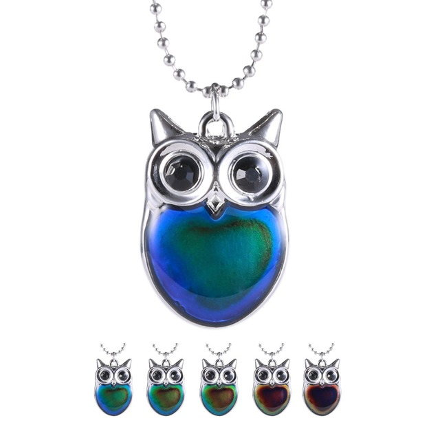 Color changing necklace owl necklace pendant mood necklace animal color changing necklace owl necklace pendant mood necklace animal enamel emotion jewelry color changeable by the mozeypictures Image collections
