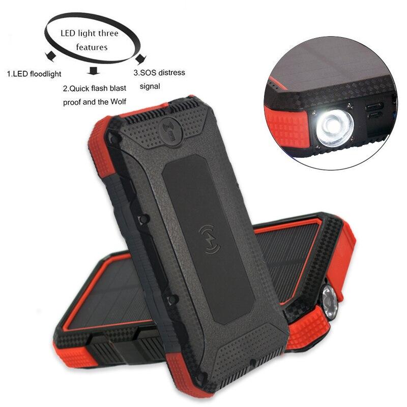 Chargeur Portable sans fil 30000mAh batterie Portable solaire pour iPhone Samsung Huawei chargeur rapide batterie externe USB Powerbank