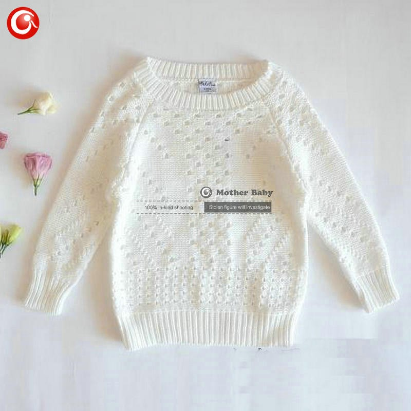 12M-5Y Baby Girls Pullover Sweaters Whiter Cotton Kids Knit Cardigan Clothing Hollow Out Children\'s Long Sleeve Jumper Clothes (5)
