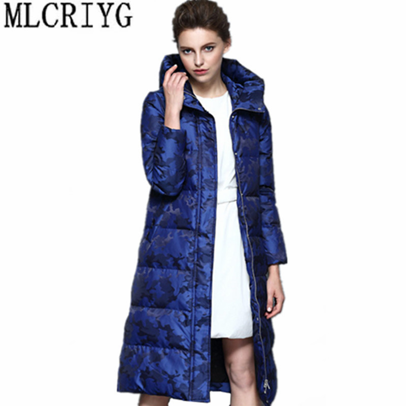 MLCRIYG 2019 Women's   Down   Jacket Hooded Long Warm Winter Jackets for Women 90% Duck   Down     Coats   chaquetas invierno mujer YQ242