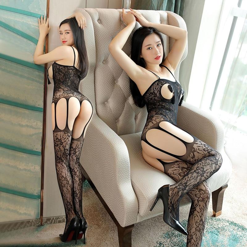 Hot Sale Women's Sexy Lingerie Black Bodystocking Open Crotch Lady Pantyhose Erotic Fishnet Open Bra Sexy Garter Jacquard Tights