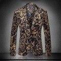 Chaquetas Para Hombre Chaqueta de esmoquin de oro Barroco Patrón Real Ropa Colete Sociales Homme Lujo de la Marca Estampado de Flores Traje de la Etapa