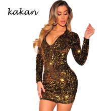 Kakan 2019 spring new women's sequin dress fashion slim sequin dress sexy nightclub club party dress все цены