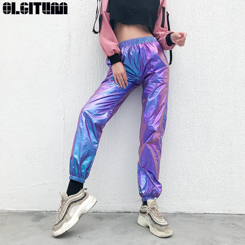 New Pants Laser Reflection Harajuku Sweatpants Women Joggers Casual High Waist Pants Capris Hip Hop Holographic Ladies PT296