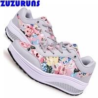 Scarpe basse nuovo modo donne spessa suola piatta piattaforma delle signore marca corsa scarpe basse floreali stampati ragazze flats scarpe donna r206