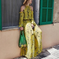 Self Portrait Women 2019 Runway Dress Yellow Floral Long Maxi Dresses for Party