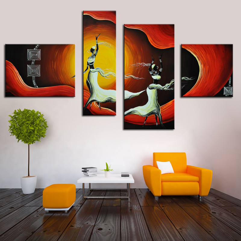African Woman Dancing Group 4 Panels Canvas Art Abstract Women Painting Hand Painted Figure