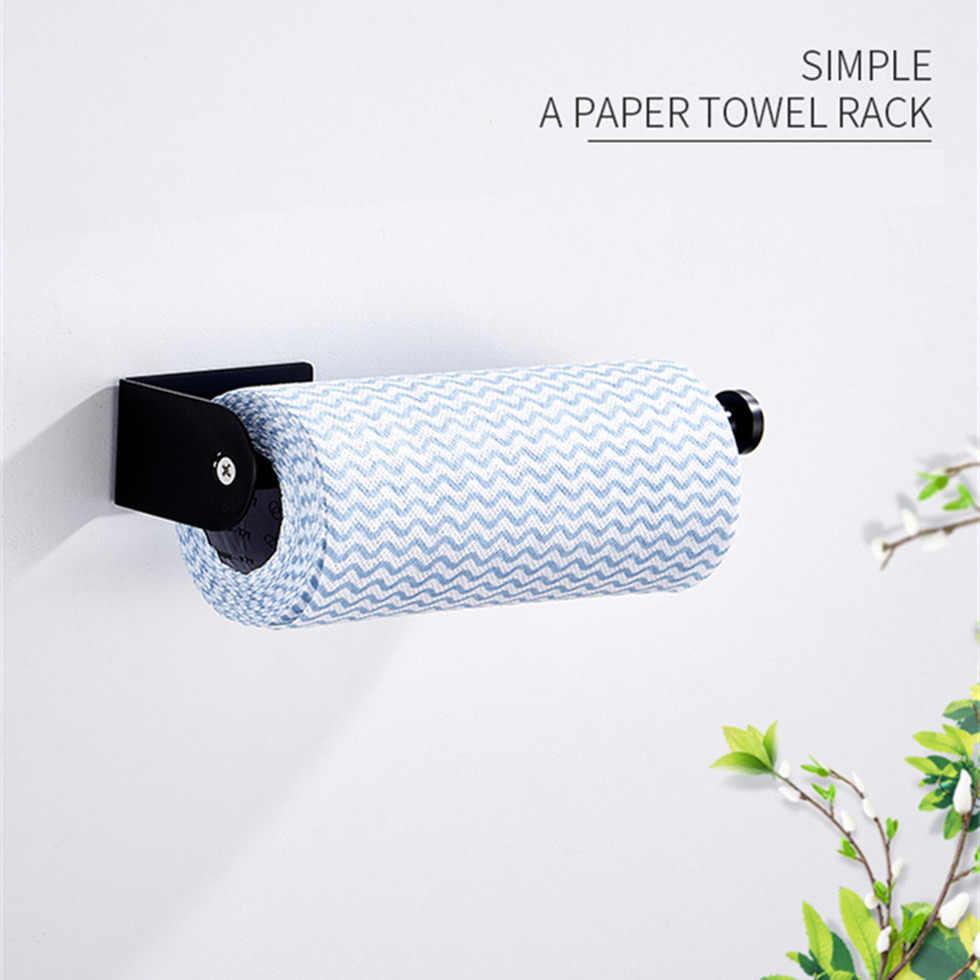 Czarny papier uchwyt 304 ze stali nierdzewnej wieszak na ręczniki stojak na tkaninę do łazienki kuchnia WC chusteczka toaletowa uchwyt na rolki ręczników papierowych stojak
