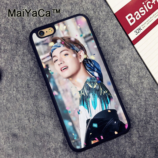 quality design 24899 14f64 US $4.15 5% OFF MaiYaCa Fashion BTS V Printed Soft Rubber Mobile Phone  Cases Accessories For iPhone 6 6S Plus 7 8 Plus 5 5S 5C SE X Cover Shell-in  ...