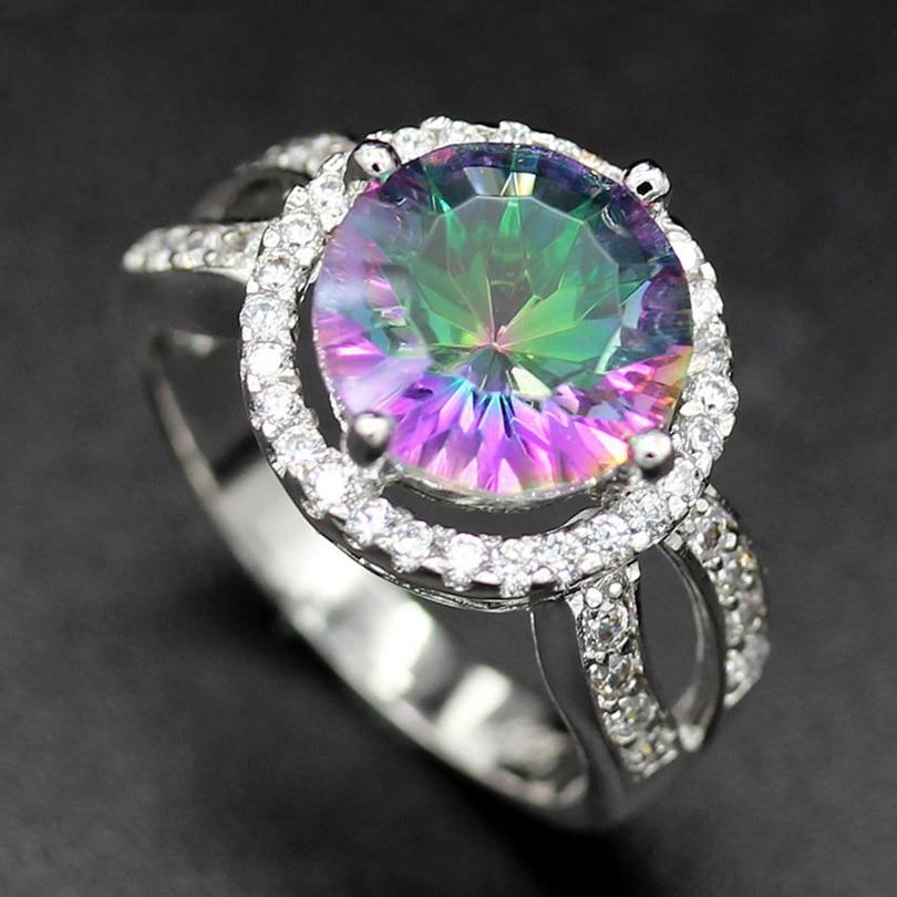 Fleure Esme Rainbow Mystic Stone Women Rings Fashion Vintage Round Wedding Female Rings Women Jewelry Accessories R758 sz# 7 8 9