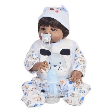 55cm Adorable 22inch Full silicone black skin Reborn Doll Handmade Boneca In Cute Clothes boy doll fake baby dolls for sale