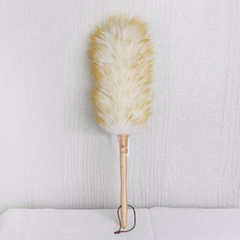 Long Wood Handle Dust Brush Household Soft Non-static Furniture Lambswool Dusting Cleaning Wool Brush Hanging Rope ~