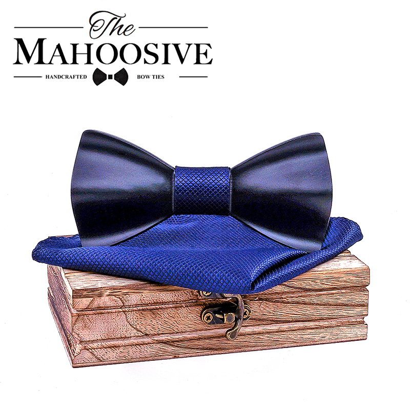 Black Mens Wood Bow Tie Handkerchief Sets Marriage Groom Wooden BowTie Bowknots Wedding Party Neck Ties For Men