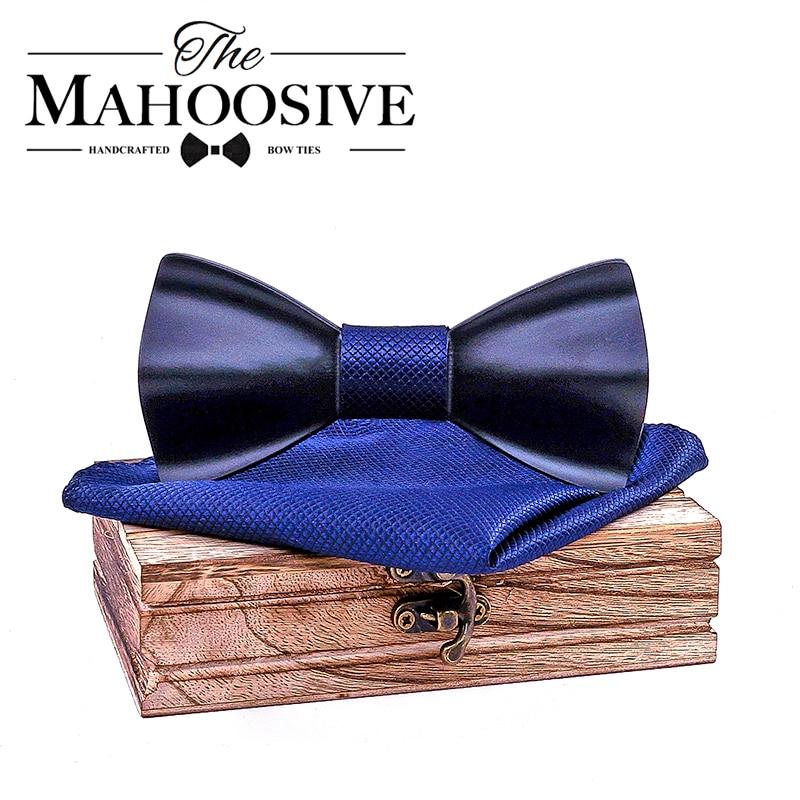 Black Mens Wood Bow Tie Handkerchief Sets Marriage Groom Wooden BowTie Bowknots Wedding Party Neck Ties For Men