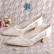 ที่กำหนดเองที่ทำด้วยมือ5เซนติเมตรสีขาวลูกไม้ส้นปั๊มสำหรับงานแต่งงานชี้นิ้วเท้า