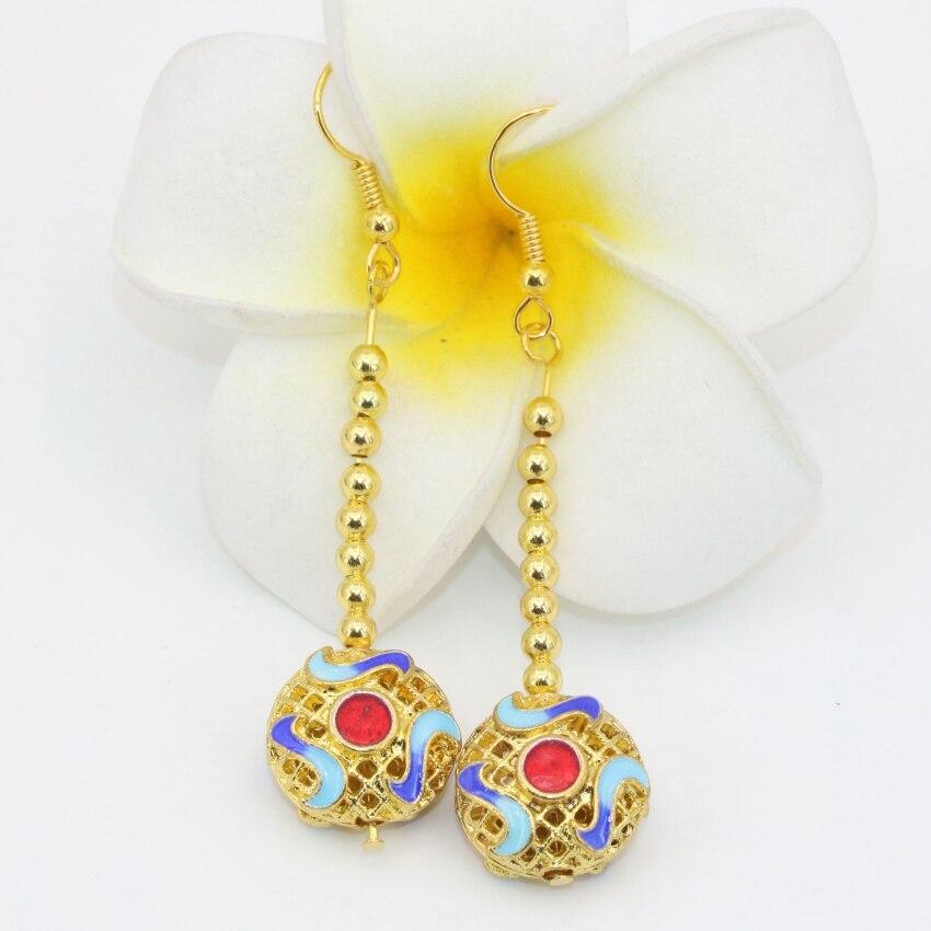 41b8975d562b6 Longo gota brincos pendurados para as mulheres meninas 14mm gold-cor  cloisonne oco de alta qualidade exclusivo design de jóias finas B2590