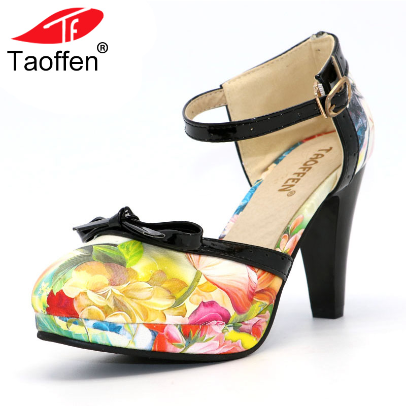 TAOFFEN Plus Size 32-48 Women High Heel Shoes Round Toe Heels Sandals Women's Print Platform Sandals Black bow Party Footwears цена